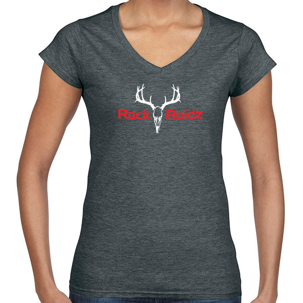 Rack Roidz ladies v neck t shirt charcoal gray