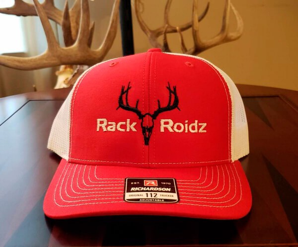 RackRoidz Red with black and tan logo mesh hat